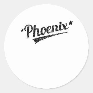 Logotipo retro apenado de Phoenix Etiquetas Redondas