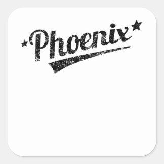 Logotipo retro apenado de Phoenix Calcomanías Cuadradass Personalizadas