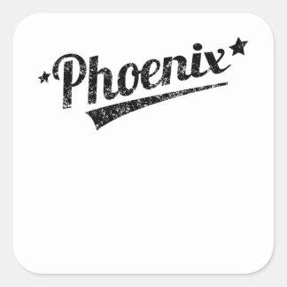 Logotipo retro apenado de Phoenix Pegatinas Cuadradases