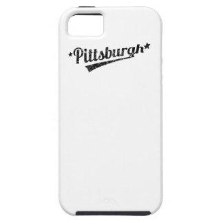 Logotipo retro apenado de Pittsburgh iPhone 5 Cárcasas