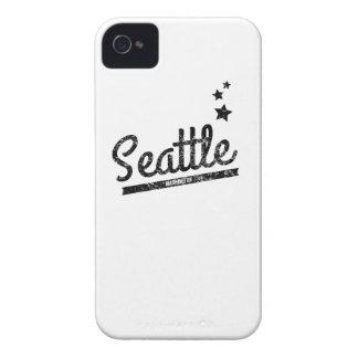 Logotipo retro apenado de Seattle Case-Mate iPhone 4 Coberturas