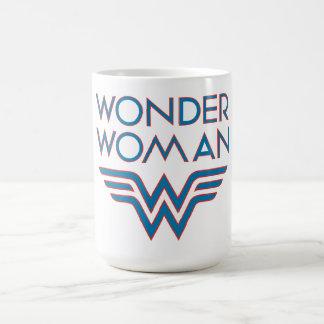 Logotipo retro azul y rojo de la Mujer Maravilla Taza De Café