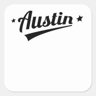 Logotipo retro de Austin Pegatinas Cuadradas Personalizadas