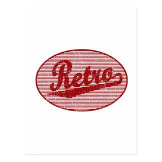 Logotipo retro de la escritura en el rojo apenado postal