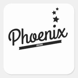 Logotipo retro de Phoenix Calcomanías Cuadradas
