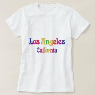 Logotipo retro del arco iris de Los Ángeles Playera