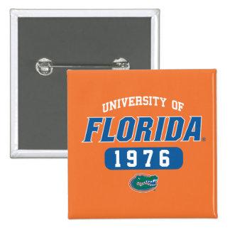 Logotipo retro del cocodrilo verde del uF Pin Cuadrado
