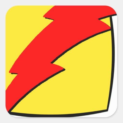 Logotipo retro del superhéroe de la mirada del pegatina cuadrada