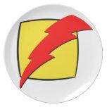 Logotipo retro del superhéroe de la mirada del ray plato