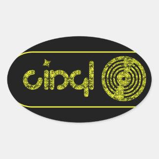 Logotipo retro del vinilo - negro y amarillo pegatina ovalada