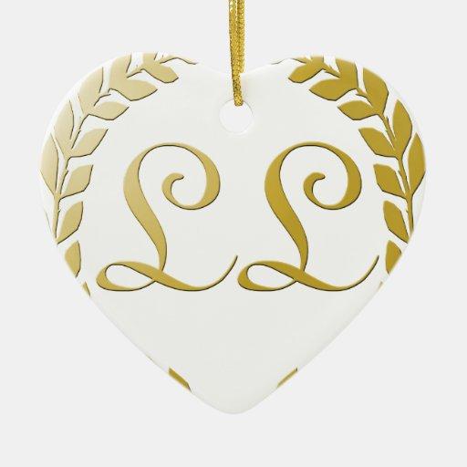 Logotipo rico adorno navideño de cerámica en forma de corazón