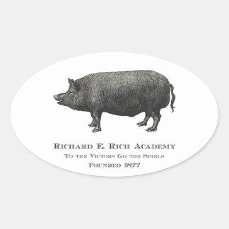 Logotipo rico del cerdo de la academia de Richard Colcomanias Ovaladas Personalizadas