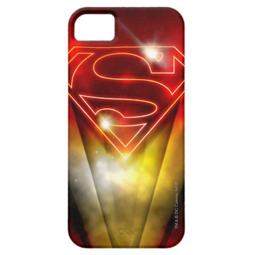 Logotipo rojo brillante del superhombre del esquem iPhone 5 Case-Mate fundas