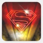 Logotipo rojo brillante del superhombre del esquem colcomanias cuadradas personalizadas