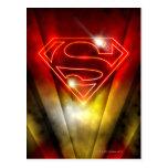 Logotipo rojo brillante del superhombre del esquem postales