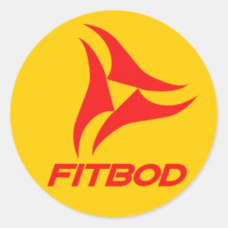 Logotipo rojo de la aptitud de FITBOD Pegatina Redonda