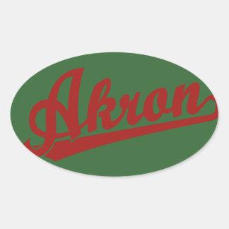 Logotipo rojo de la escritura de Akron Pegatinas De Óval Personalizadas