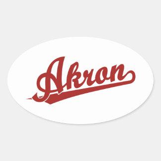 Logotipo rojo de la escritura de Akron Pegatinas Ovaladas