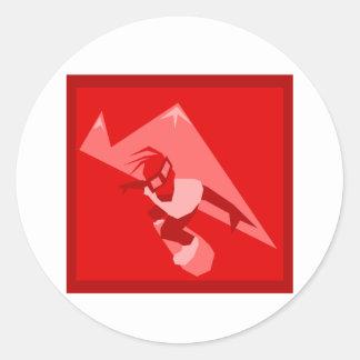Logotipo rojo de la snowboard etiqueta redonda