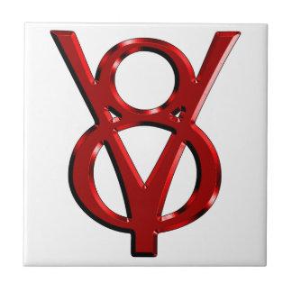 Logotipo rojo de V8 del cromo Azulejo Cuadrado Pequeño