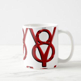 Logotipo rojo de V8 del cromo Taza De Café