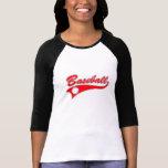 Logotipo rojo del béisbol camisetas