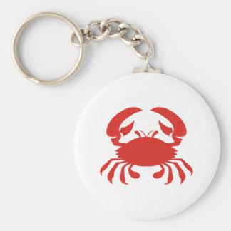Logotipo rojo del cangrejo llavero redondo tipo pin