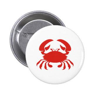 Logotipo rojo del cangrejo pin redondo de 2 pulgadas