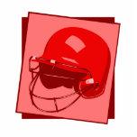 logotipo rojo del casco del béisbol escultura fotográfica