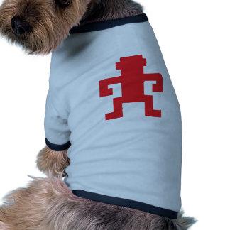 Logotipo rojo del mono del pixel camisetas de perrito