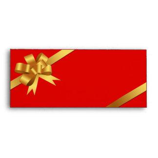 Logotipo rojo del negocio del día de fiesta de la  sobres