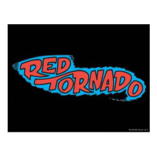 Logotipo rojo del tornado postales