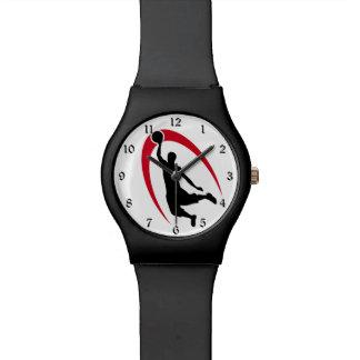 Logotipo rojo negro del baloncesto reloj de mano
