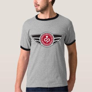 Logotipo rojo negro y gris de la camiseta w/basic playera