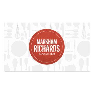 Logotipo rojo rústico para el cocinero, abastecimi plantilla de tarjeta de visita