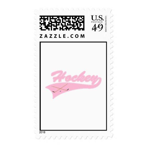 Logotipo rosa claro del hockey sello postal
