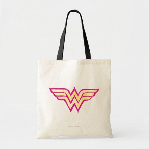Logotipo rosado de la Mujer Maravilla y amarillo c Bolsa Lienzo