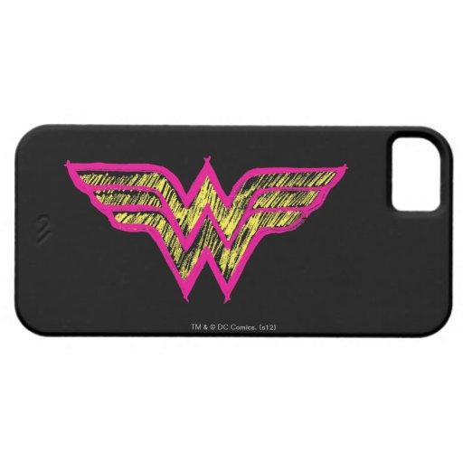 Logotipo rosado de la Mujer Maravilla y amarillo c iPhone 5 Case-Mate Cobertura
