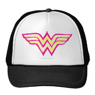 Logotipo rosado de la Mujer Maravilla y amarillo c Gorra