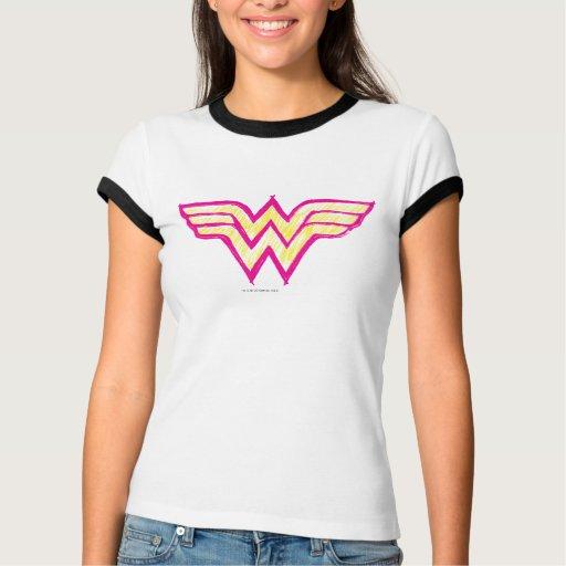 Logotipo rosado de la Mujer Maravilla y amarillo Playeras
