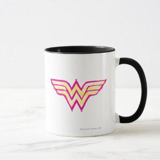 Logotipo rosado de la Mujer Maravilla y amarillo Taza