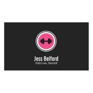 Logotipo rosado de la pesa de gimnasia, instructor tarjetas de visita