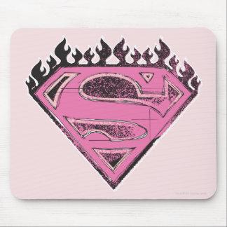 Logotipo rosado de Supergirl con las llamas Alfombrilla De Raton