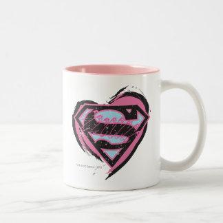 Logotipo rosado de Supergirl en corazón Taza De Café De Dos Colores