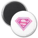 Logotipo rosado de Supergirl Imán Redondo 5 Cm