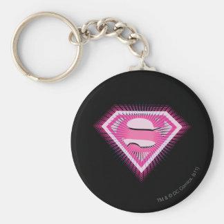Logotipo rosado de Supergirl Llavero Redondo Tipo Pin