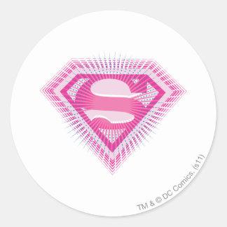 Logotipo rosado de Supergirl Etiqueta Redonda