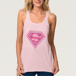 Logotipo rosado de Supergirl Playera De Tirantes Cruzados Holgada