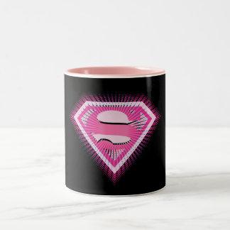 Logotipo rosado de Supergirl Taza De Café De Dos Colores