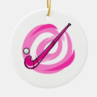 Logotipo rosado del hockey hierba adorno redondo de cerámica